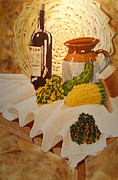 Wine Bottle Paintings - Still Life With Jug by Sandra Stone