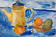 Apple Art Drawings Posters - Still life with kettle and apples aquarelle Poster by Kiril Stanchev