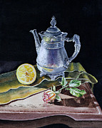 Dark Wood Table  Prints - Still Life With Lemon And Rose Print by Irina Sztukowski