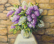 Fragrance Painting Prints - Still life with lilacs Print by Kiril Stanchev