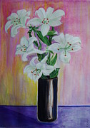 Veronica Rickard Prints - Still Life with Lilies Print by Veronica Rickard