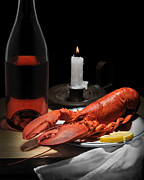 Wine Bottle Pyrography Prints - Still Life with Lobster Print by Krasimir Tolev