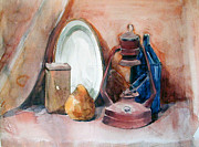 Pottery Paintings - Still Life with mine lamp by Greta Corens