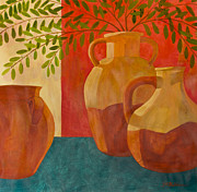 Pottery Mixed Media - Still Life with Olive Branches I by Sandra Neumann Wilderman