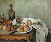 Still-life With Wine Posters - Still Life with Onions Poster by Paul Cezanne