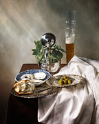 Banquet Posters - Still Life with Pass Glass-Silverware-Oysters and Olives Poster by Levin Rodriguez