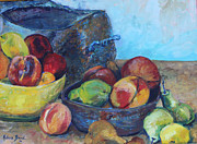 French Pears Prints - Still Life with Patina Copper Pot and fruit Print by Rebecca Brand