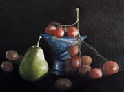 Still Life With Pears Prints - Still life with Pear and Grapes Print by Kat Logan