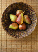 Pears Prints - Still Life with Pears and a Rattan Bowl. Print by Diane Diederich