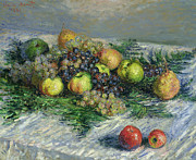 Kitchen Decor Framed Prints - Still Life with Pears and Grapes Framed Print by Claude Monet