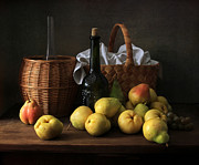 Wine Bottle Wall Art Photos - Still Life with pears  by Helen Tatulyan