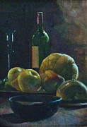 Pewter Paintings - Still life with Pewter dish by Lesly Holliday
