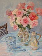 Black And White Roses Painting Originals - Still Life With Pink Roses 2012 by Elinor Fletcher