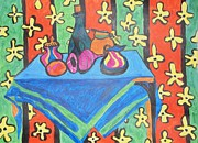 Pitchers Painting Metal Prints - Still Life with Pitchers au Matisse Metal Print by Esther Newman-Cohen