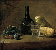 Wine-bottle Paintings - Still Life with Plums by Jean-baptiste-Simeon Chardin