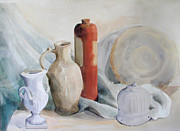 Drapery Framed Prints - Still life with pottery and stone Framed Print by Greta Corens
