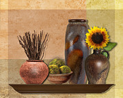 Still Life Photographs Posters - Still Life With Pottery Vases Poster by Maude Renganeschi