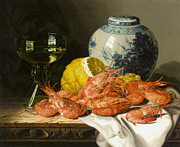 Wine Industry Framed Prints - Still Life With Prawns And Lemon Framed Print by Edward Ladell