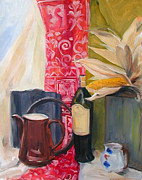 Pottery Paintings - Still Life with Red Cloth by Greta Corens
