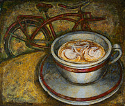 Mark Howard Jones Posters - Still life with red cruiser bike Poster by Mark Howard Jones