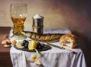 Roemer Framed Prints - Still Life with Roemer-Great Salt-Fish and Bread Framed Print by Levin Rodriguez