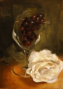 White Grapes Paintings - Still Life with Rose by Alison Schmidt Carson