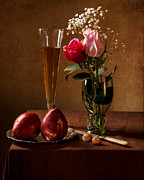 Roemer Framed Prints - Still Life with Roses in Small Roemer and Two Red Pears Framed Print by Levin Rodriguez