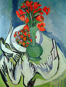 Seagull Paintings - Still Life with Seagulls Poppies and Strawberries by Ernst Ludwig Kirchner
