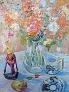 Coalport Posters - Still Life With Snapdragons And China Poster by Elinor Fletcher