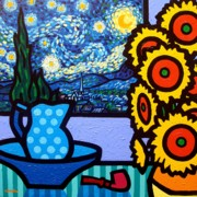 Wine Glasses Paintings - Still Life With Starry Night by John  Nolan