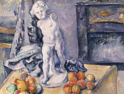 Apple Posters - Still Life with Statuette Poster by Paul Cezanne