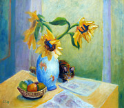 Fruit And Sunflowers Acrylic Prints - Still Life with Sunflowers and Cat Acrylic Print by Carolyn Jarvis