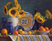 Oranges Pastels Framed Prints - Still Life with Sunflowers and Citrus Framed Print by Sarah Blumenschein