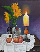 Table Cloth Posters - Still Life with Sunflowers Poster by Sunny Karuhaka