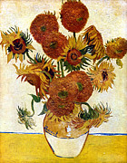 Still-life With Flowers Posters - Still Life With Sunflowers Poster by Vincent Van Gogh