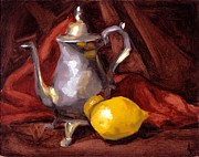 Red Fabric Art - Still Life with Tea Pot by Alison Schmidt Carson