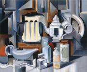 Cubism Painting Posters - Still Life with Teapots Poster by Catherine Abel
