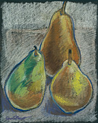 Pear Pastels Prints - Still Life with Three Pears Print by Renee Lucie Benoit