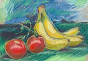 Tomatoes Pastels Prints - Still Life with Tomatoes and Bananas Print by Renee Lucie Benoit