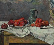 Pewter Paintings - Still life with tomatoes by Paul Gaugin