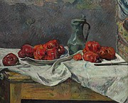Tablecloth Paintings - Still life with tomatoes by Paul Gauguin