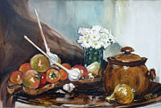 Tomatos Painting Metal Prints - Still life with tomatos Metal Print by Irek Szelag