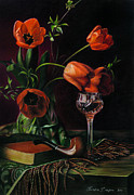 Red Wine Drawings Posters - Still Life with Tulips - drawing Poster by Natasha Denger