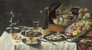 Pieter Posters - Still Life with Turkey Pie Poster by Pieter Claesz
