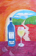 Red Wine Bottle Drawings Prints - Still Life with Tuscan Background Print by Artistic Indian Nurse