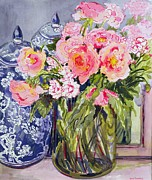 Glass Flowers Prints - Still Life with Two Blue Ginger Jars Print by Joan Thewsey