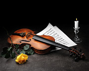 For The Art Collector Prints - Still Life with Violin Print by Krasimir Tolev