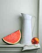 Peach Pyrography Prints - Still Life with Watermelon Print by Krasimir Tolev