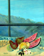 Pear Painting Acrylic Prints - Still Life with Watermelon Acrylic Print by Marisa Leon