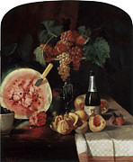 Still-life With Peaches Prints - Still Life with Watermelon Print by William Merritt Chase